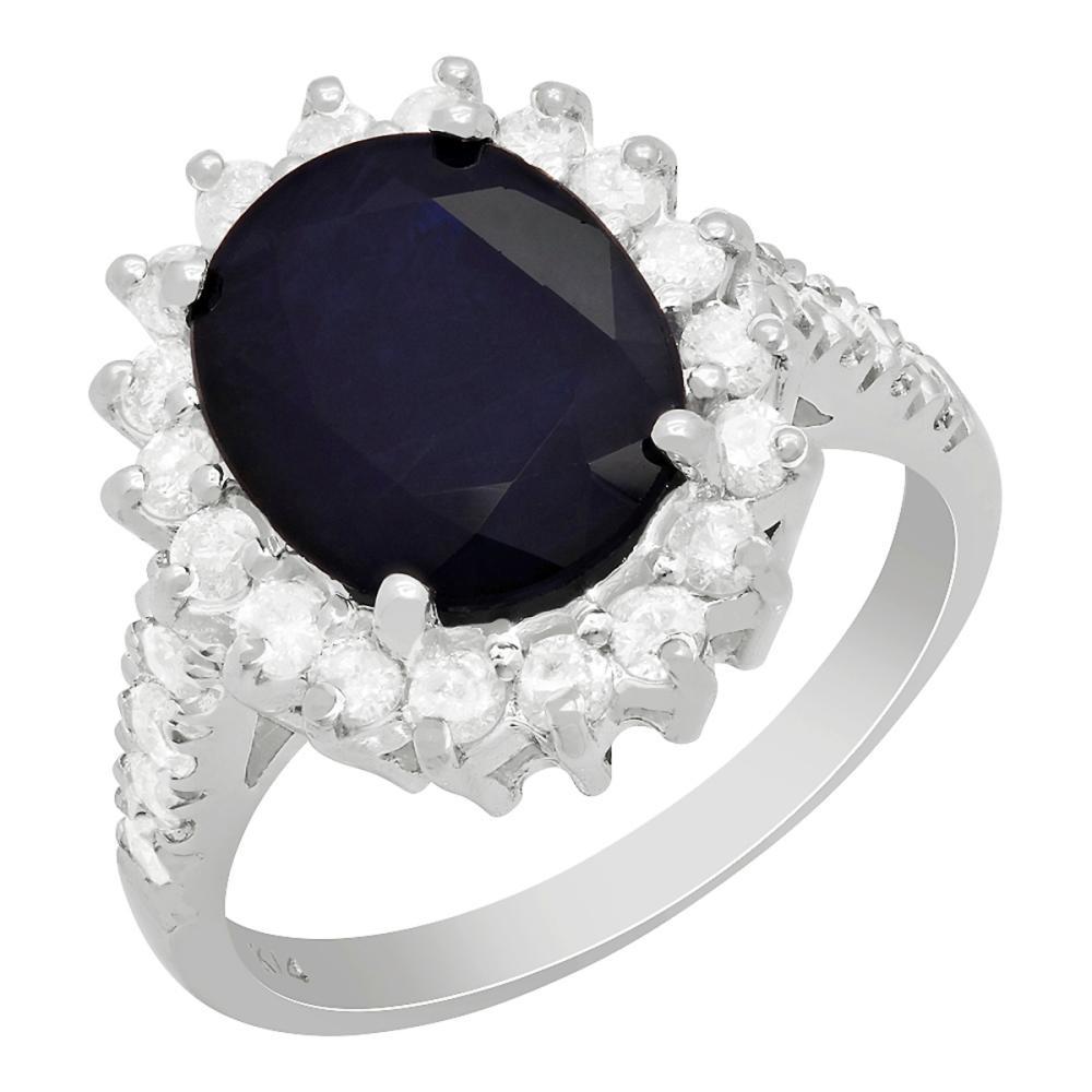14k White Gold 3.91ct Sapphire 0.79ct Diamond Ring