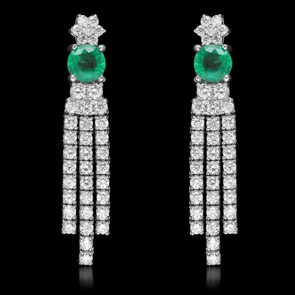 18K White Gold 1.66ct Emerald and 2.57ct Diamond Earrings