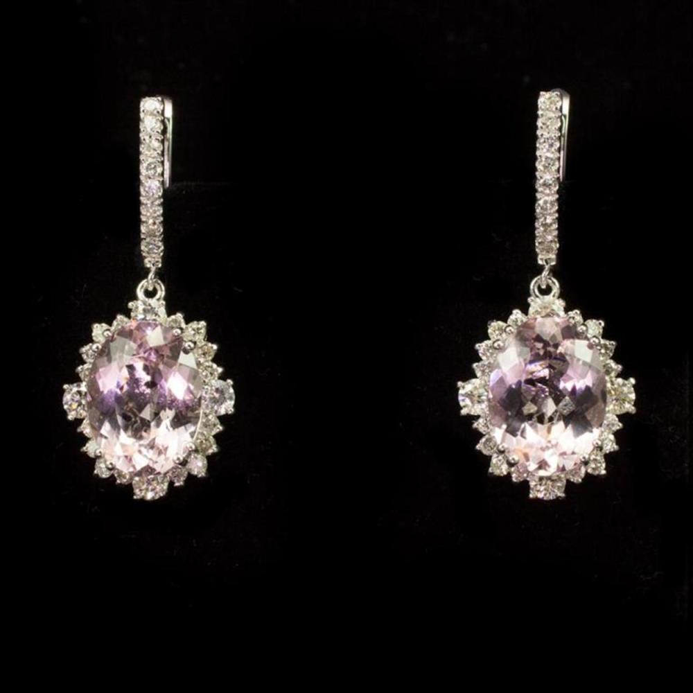 14K Gold 9.12ct Morganite 2.62ct Diamond Earrings