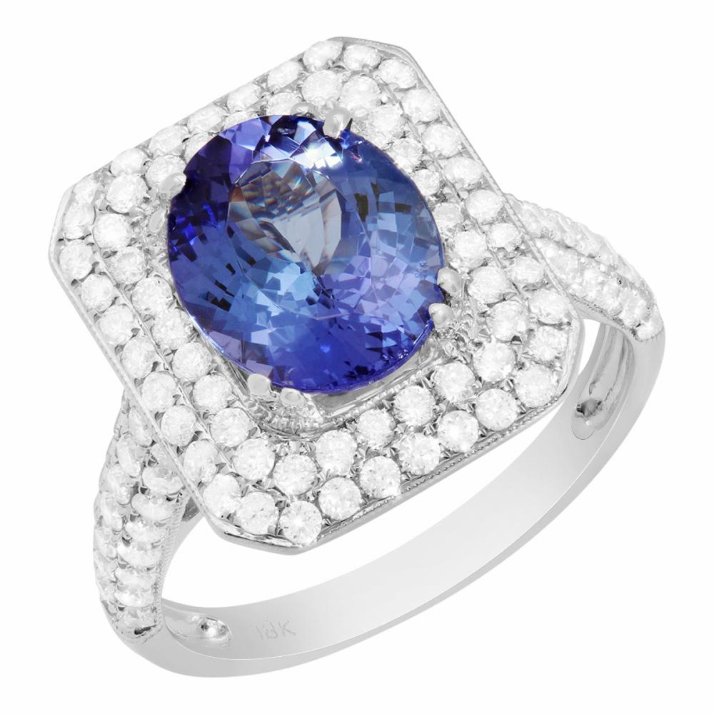 14k White Gold 2.75ct Tanzanite 1.05ct Diamond Ring