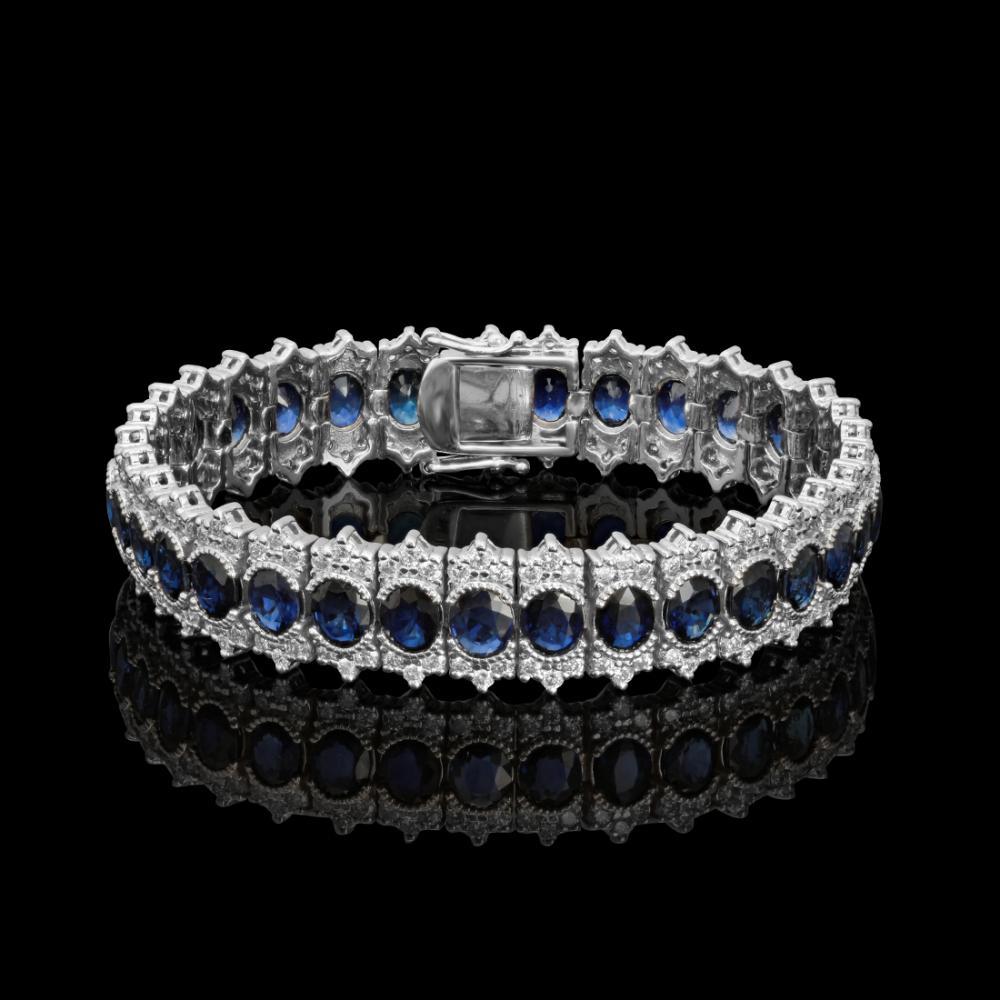 14k White Gold 22.34ct Sapphire 5.11ct Diamond Bracelet