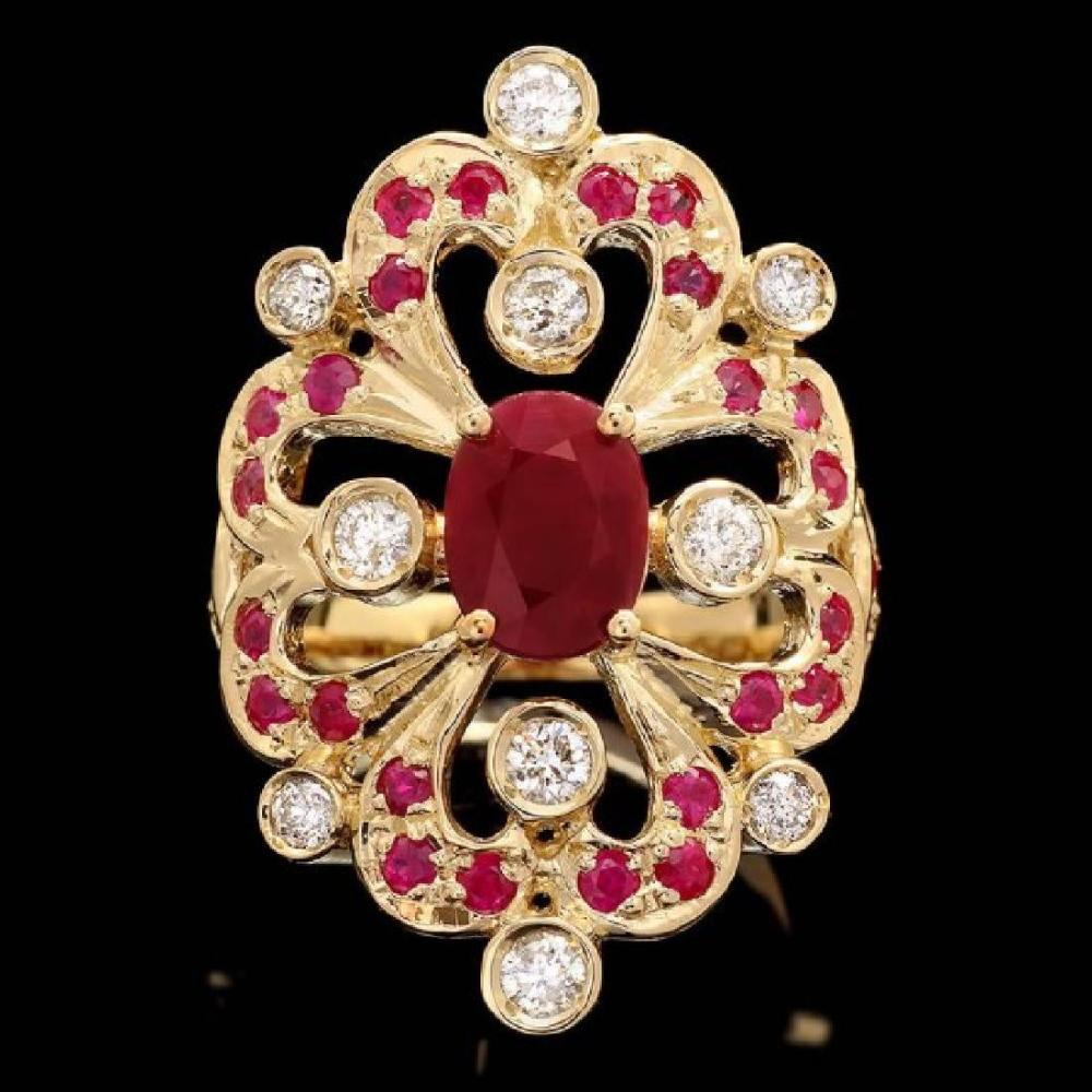 14K Yellow Gold 2.12ct Ruby and 0.48ct Diamond Ring