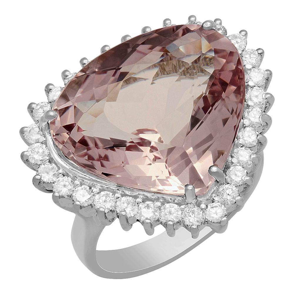 14k White Gold 14.62ct Kunzite 1.08ct Diamond Ring