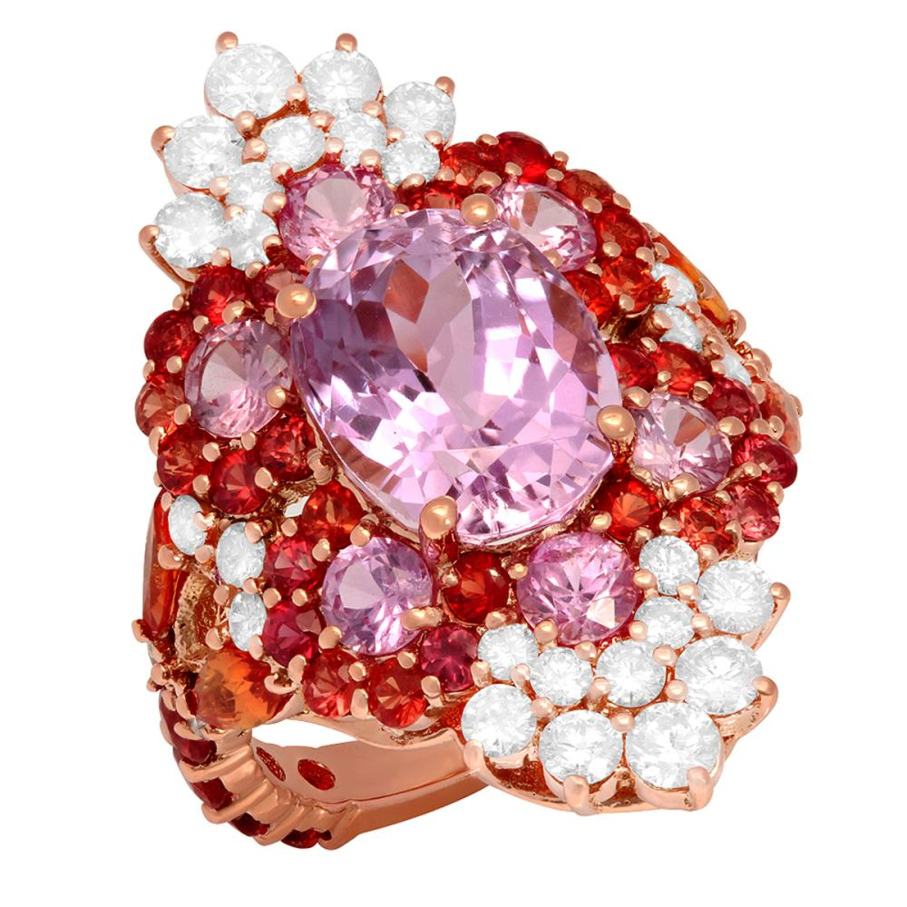 14k Rose Gold 5.01ct Kunzite 6.80ct Sapphire 1.48ct Diamond Ring