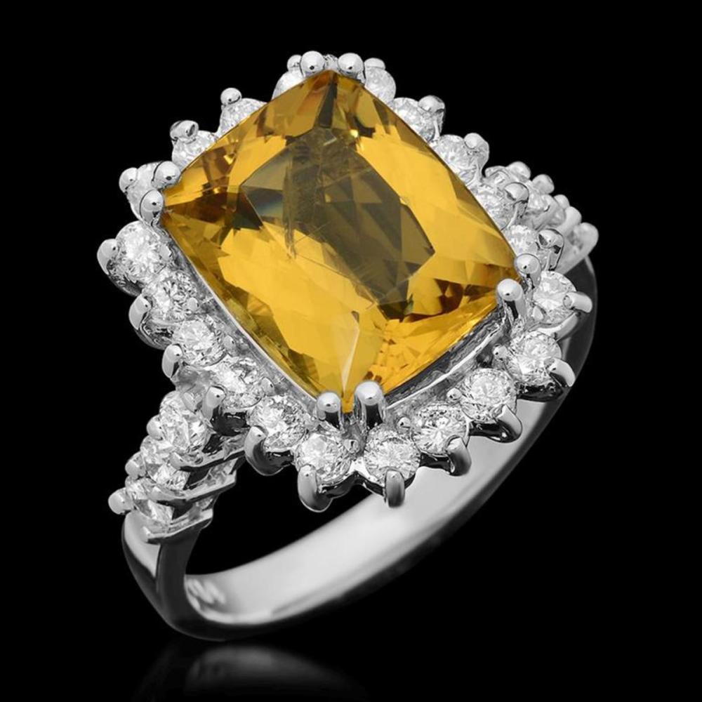 14K White Gold 4.69ct Yellow Beryl and 1.08ct Diamond Ring