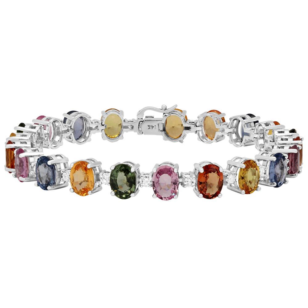 14k White Gold 31.56ct Sapphire 1.60ct Diamond Bracelet