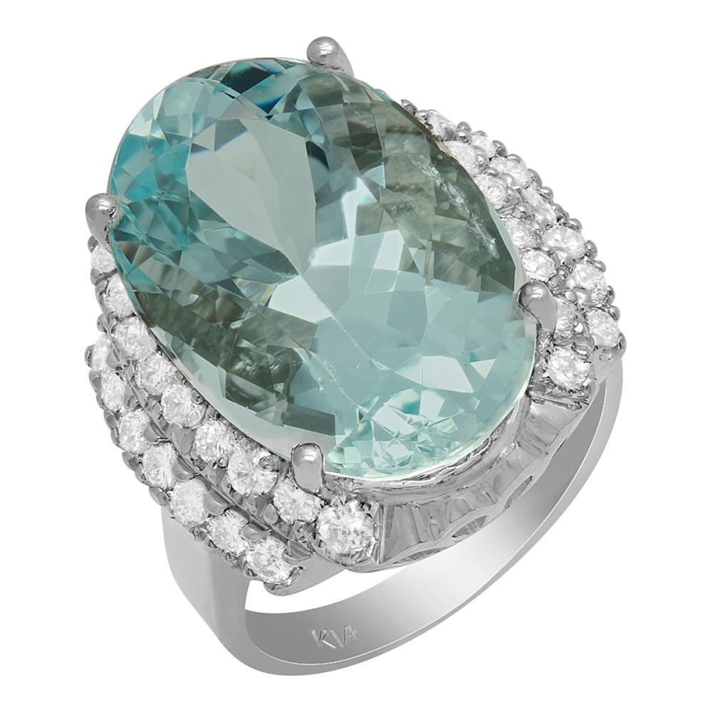 14k White Gold 11.99ct Aquamarine 0.92ct Diamond Ring