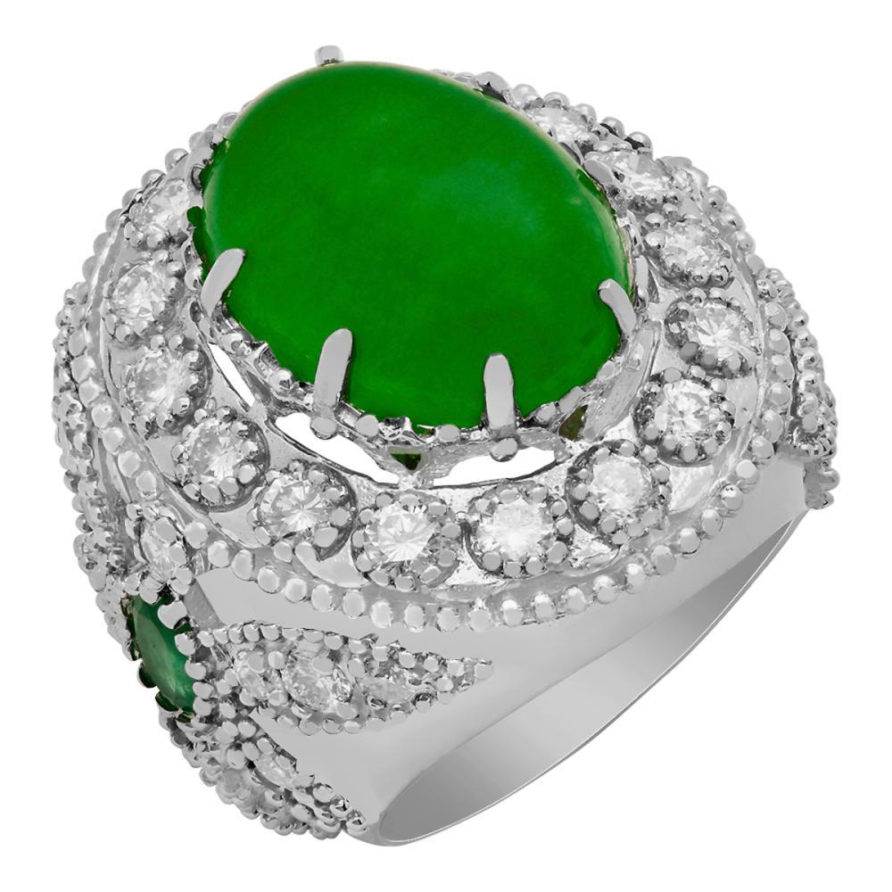 14k White Gold 9.31ct Jade 0.60ct Emerald 1.94ct Diamond Ring
