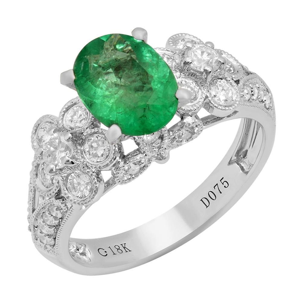 14k White Gold 1.39ct Emerald 0.78ct Diamond Ring