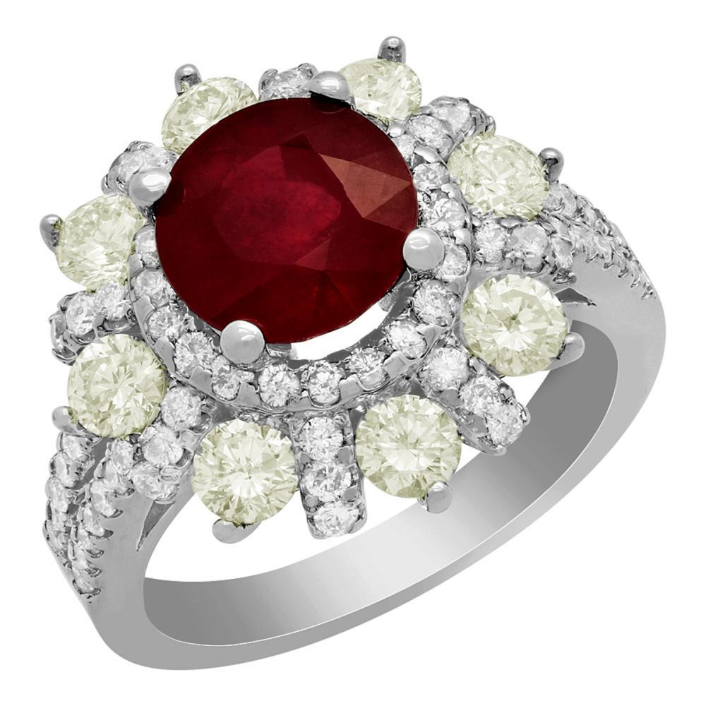 14k White Gold 3.06ct Ruby 1.86ct Diamond Ring