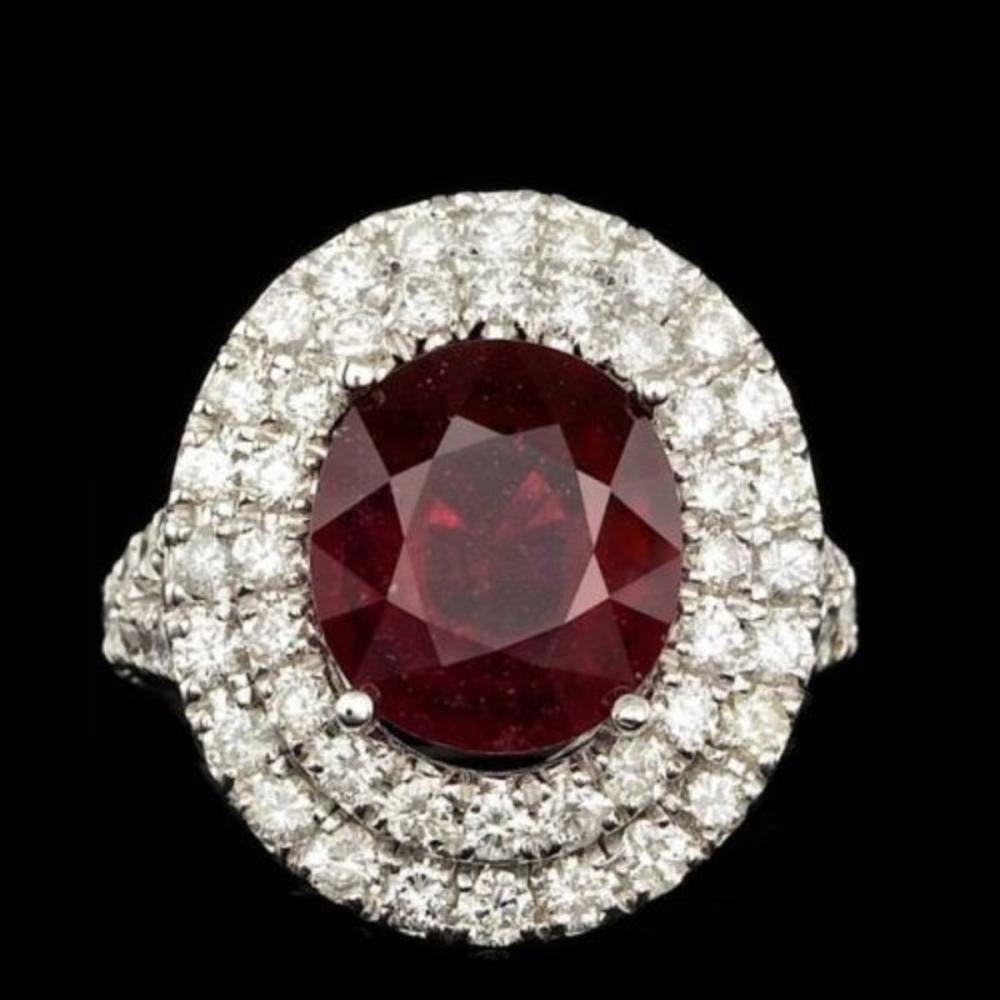 14K White Gold 5.67ct Ruby and 2.12ct Diamond Ring