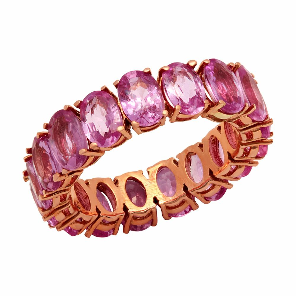 14k Rose Gold 10.25ct Pink Sapphire Eternity Band