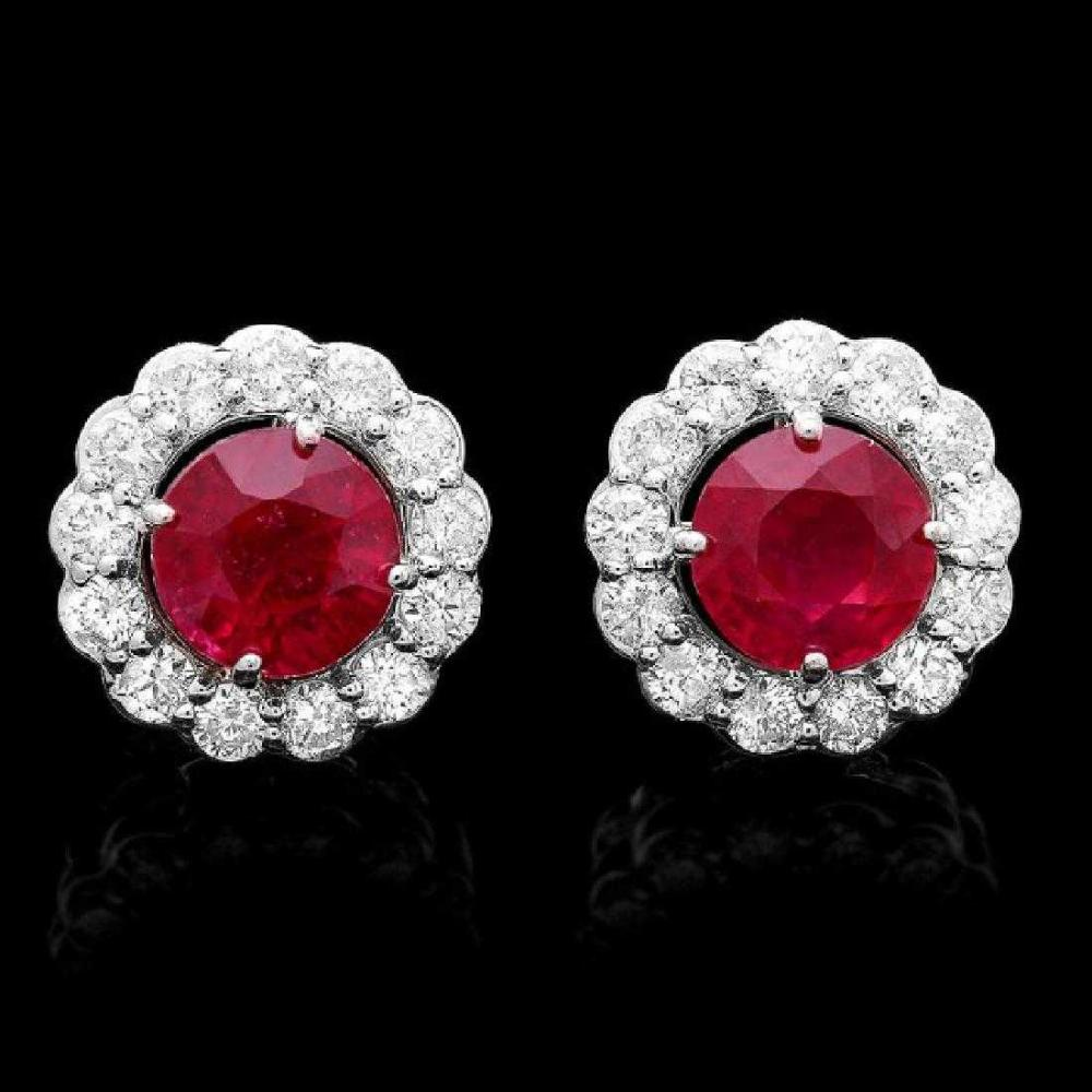 14K White Gold 3.64ct Ruby and 1.12ct Diamond Earrings