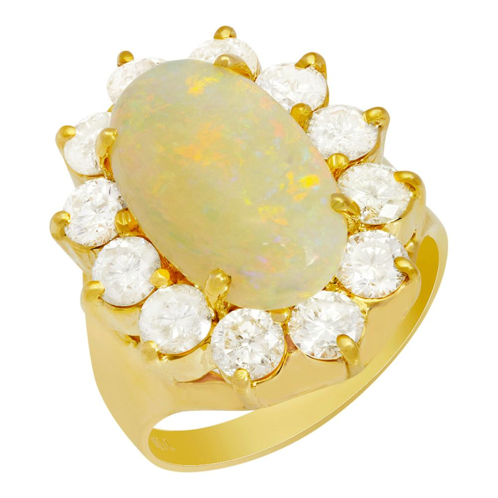 14k Yellow Gold 2.07ct White Opal 2.07ct Diamond Ring