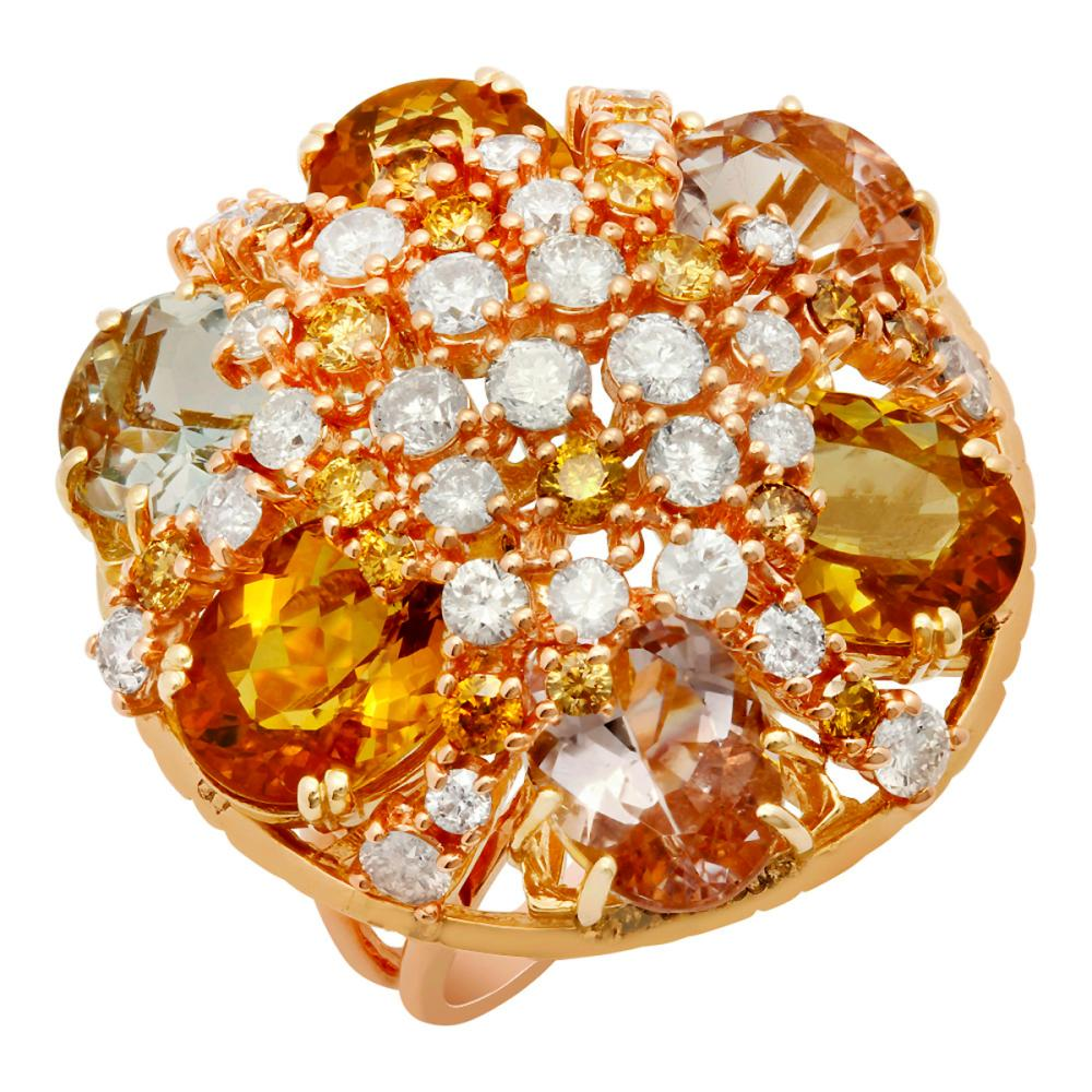 14k Yellow & Rose Gold 16.55ct Aquamarine, Morganite & Yellow Beryl 3.55ct Diamond Ring