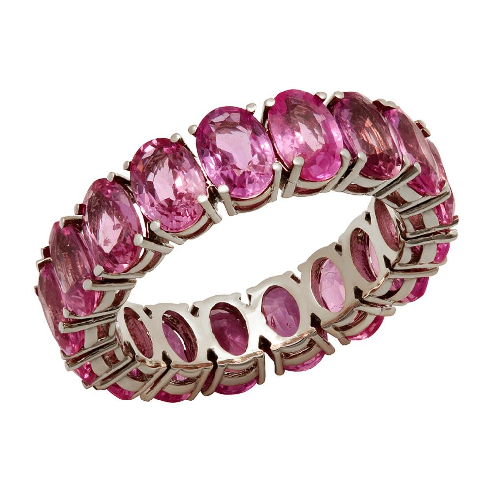 14k White Gold 10.16ct Pink Sapphire Eternity Band