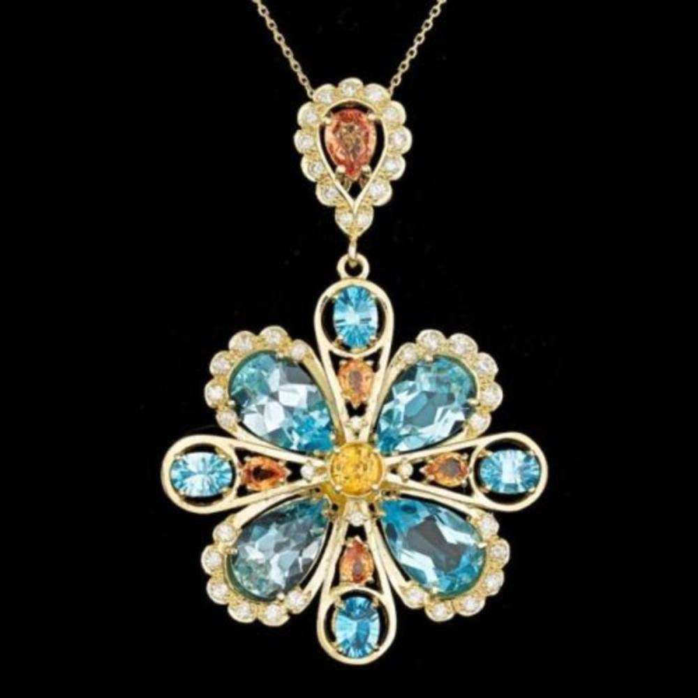 14K Gold 24.13ct Topaz 4.03ct Sapphire 1.48ct Diamond Pendant