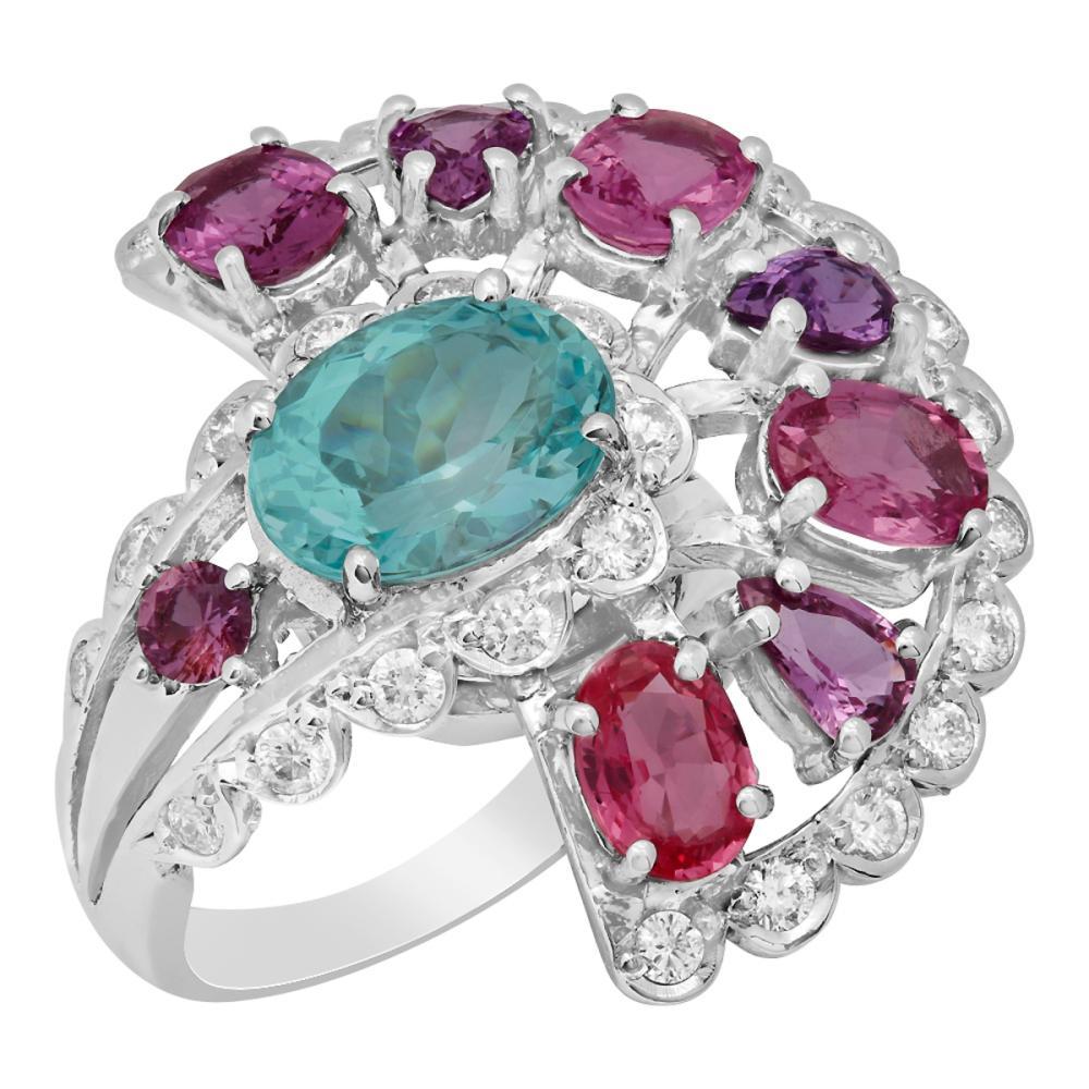 14k White Gold 3.04ct Aquamarine 5.36ct Pink Sapphire 1.02ct Diamond Ring