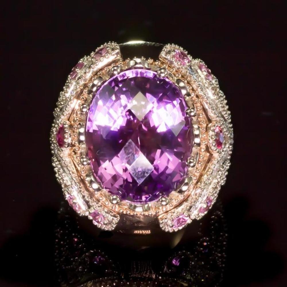 14K Rose and White Gold 16.01ct Amethyst 1.08ct Sapphire and 1.29ct Diamond Ring