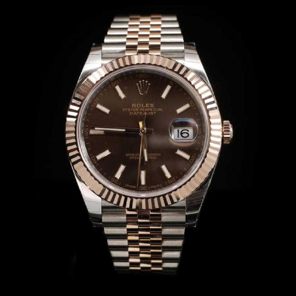 Rolex DateJust Two-Tone 41mm Rose Gold Men's Wristwatch