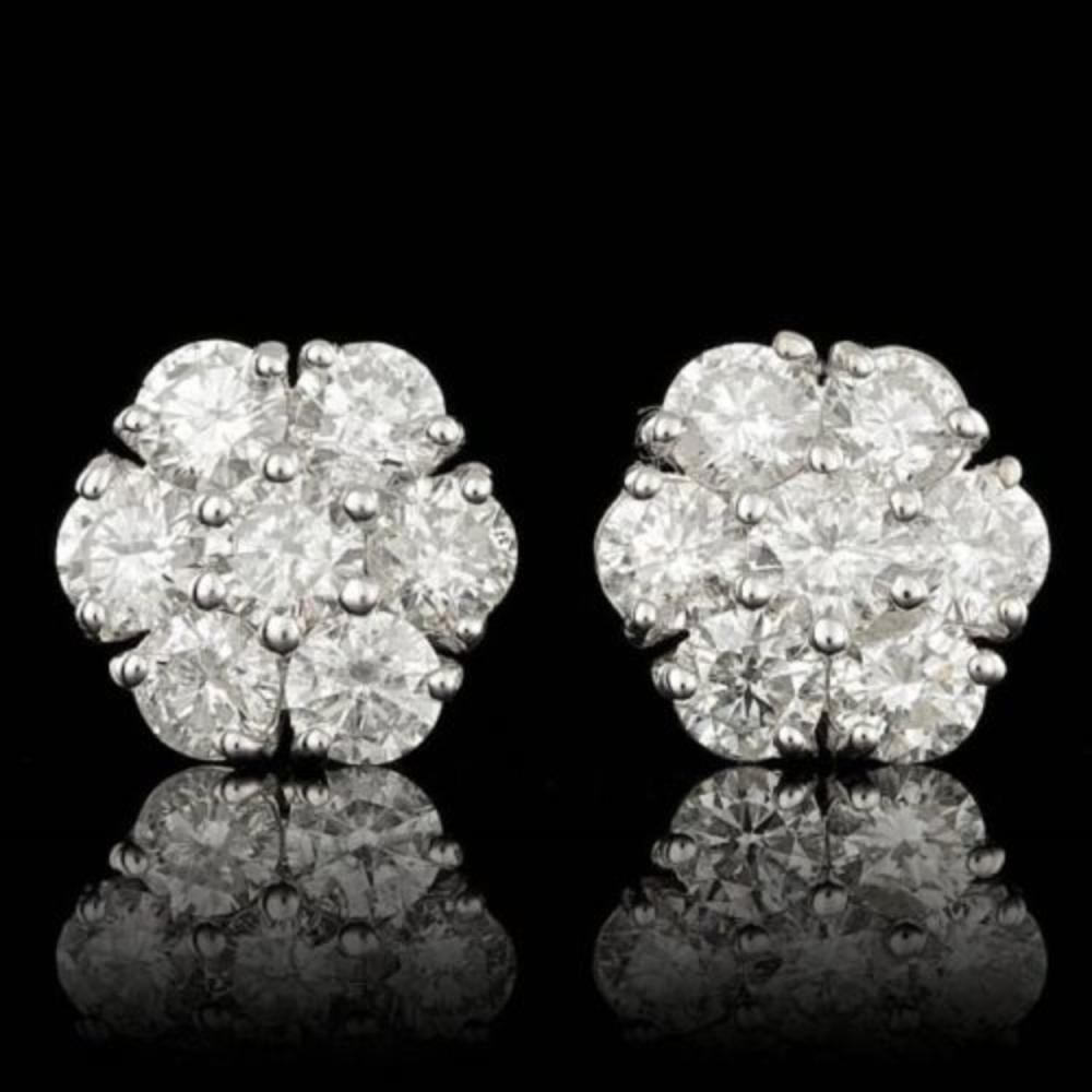 14k White Gold 3.07ct Diamond Earrings