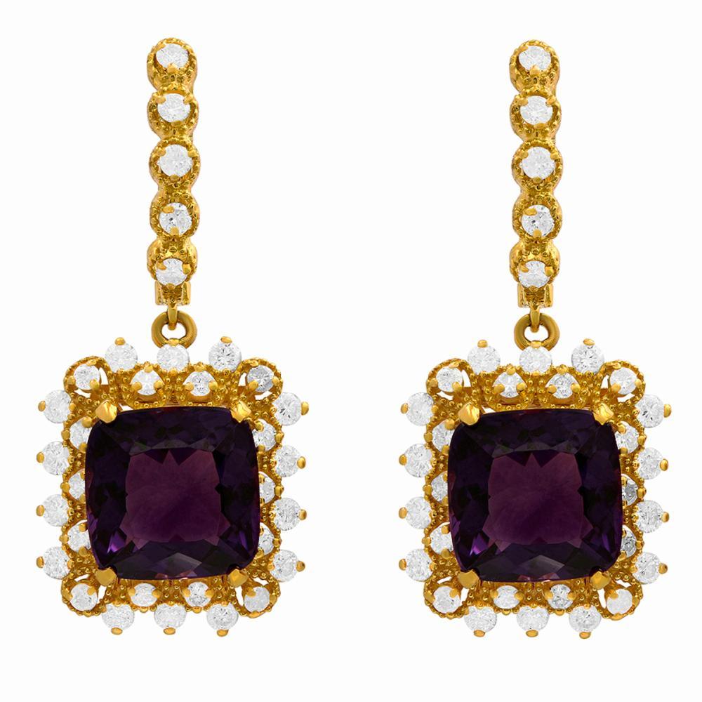 14k Yellow Gold 11.50ct Amethyst 1.25ct Diamond Earrings