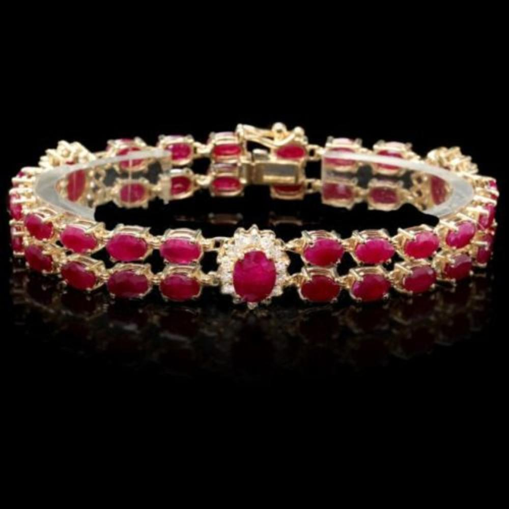 14K Gold 26.21ct Ruby 1.27ct Diamond Bracelet