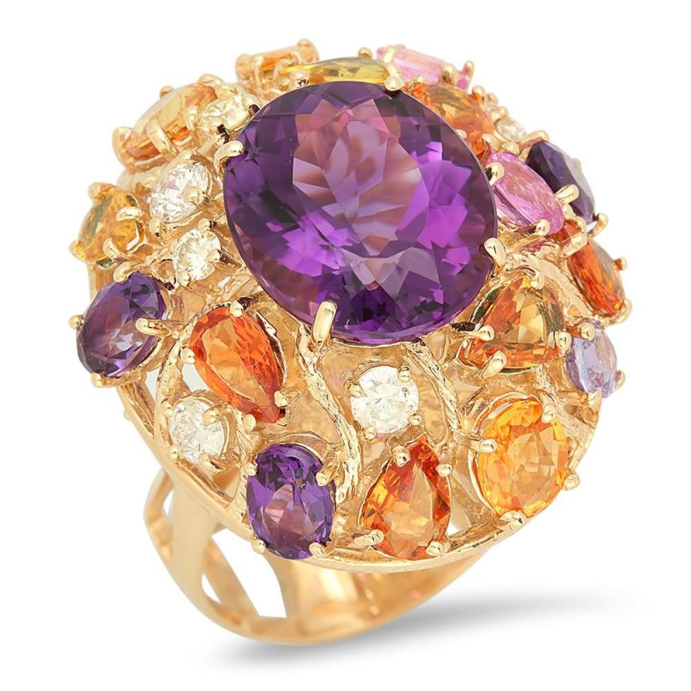 14K Yellow Gold 8.50ct Amethyst 6.42ct Sapphire and 0.71ct Diamond Ring