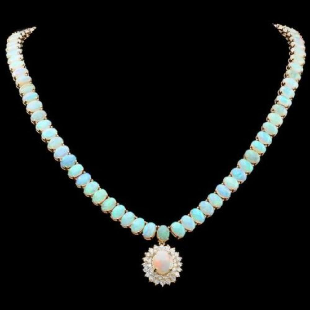 14K Yellow Gold 36.18ct Opal and 1.37ct Diamond Necklace