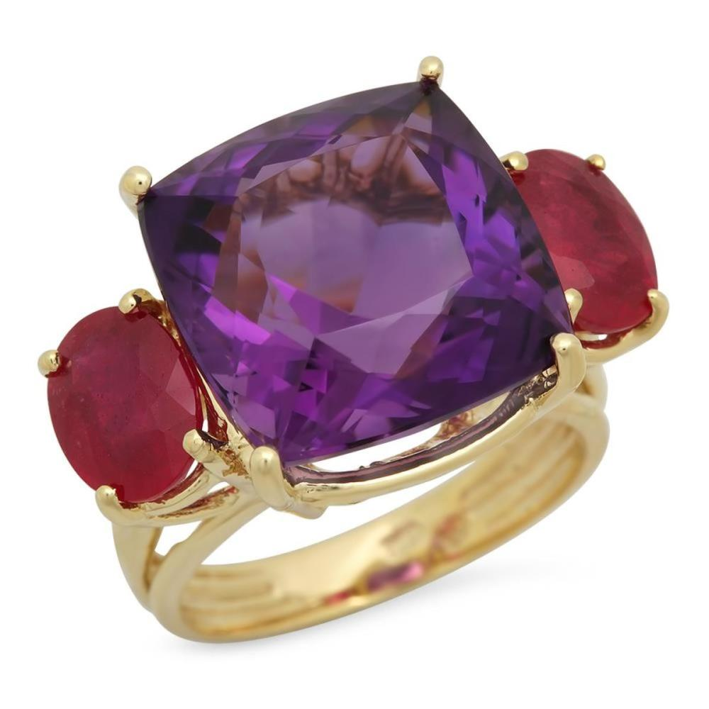 14K Yellow Gold 12.49ct Amethyst and 3.62ct Ruby Ring