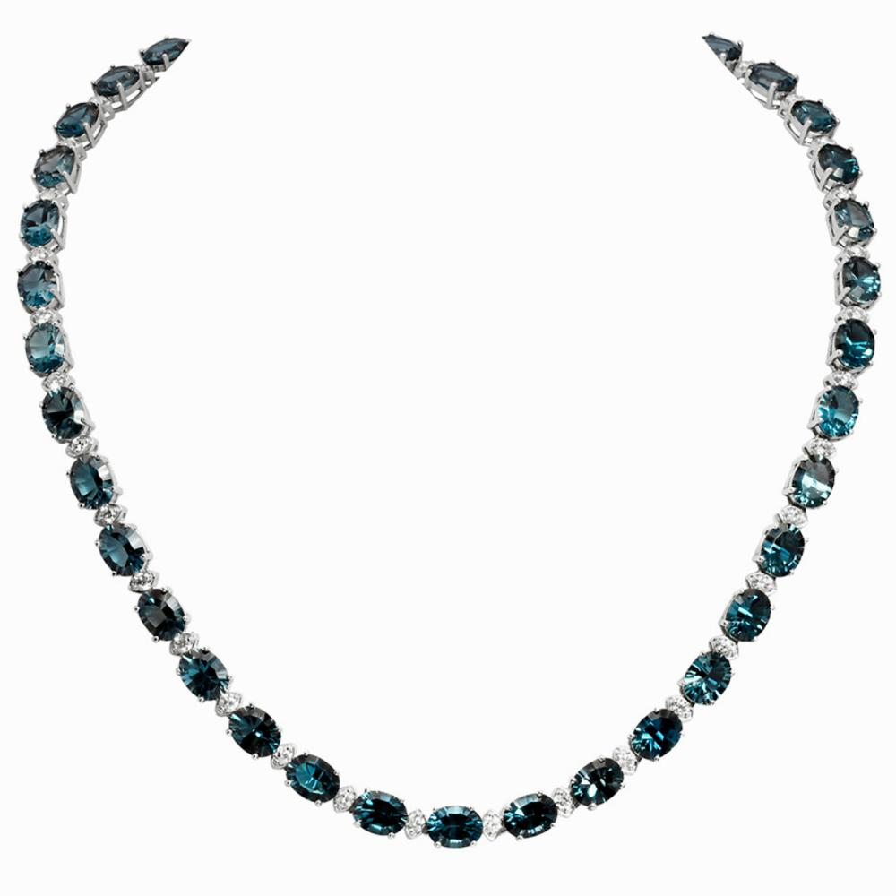 14k White Gold 55.81ct Blue Topaz 2.81ct Diamond Necklace