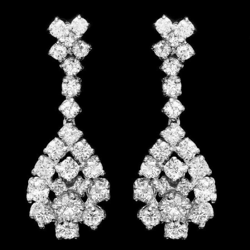 14K White Gold and 2.92ct Diamond Earrings