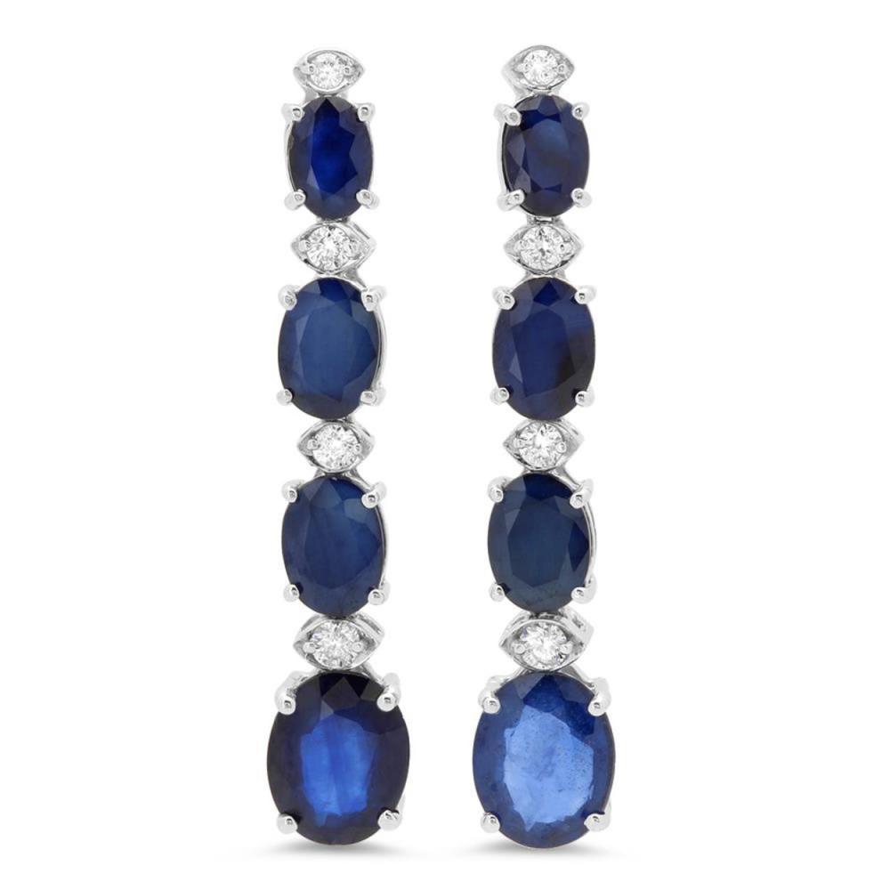 14K Gold 9.13ct Sapphire 0.32cts Diamond Earrings