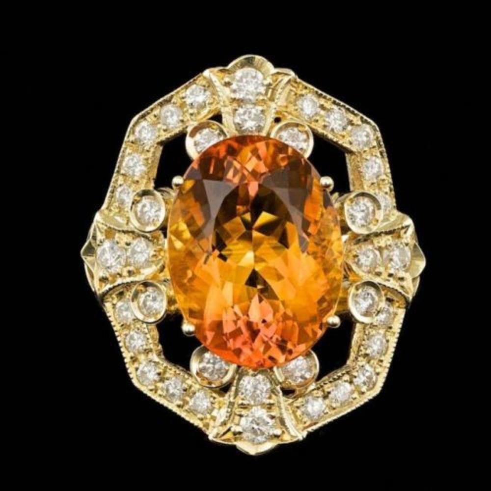 14K Yellow Gold 9.25ct Citrine and 2.59ct Diamond Ring