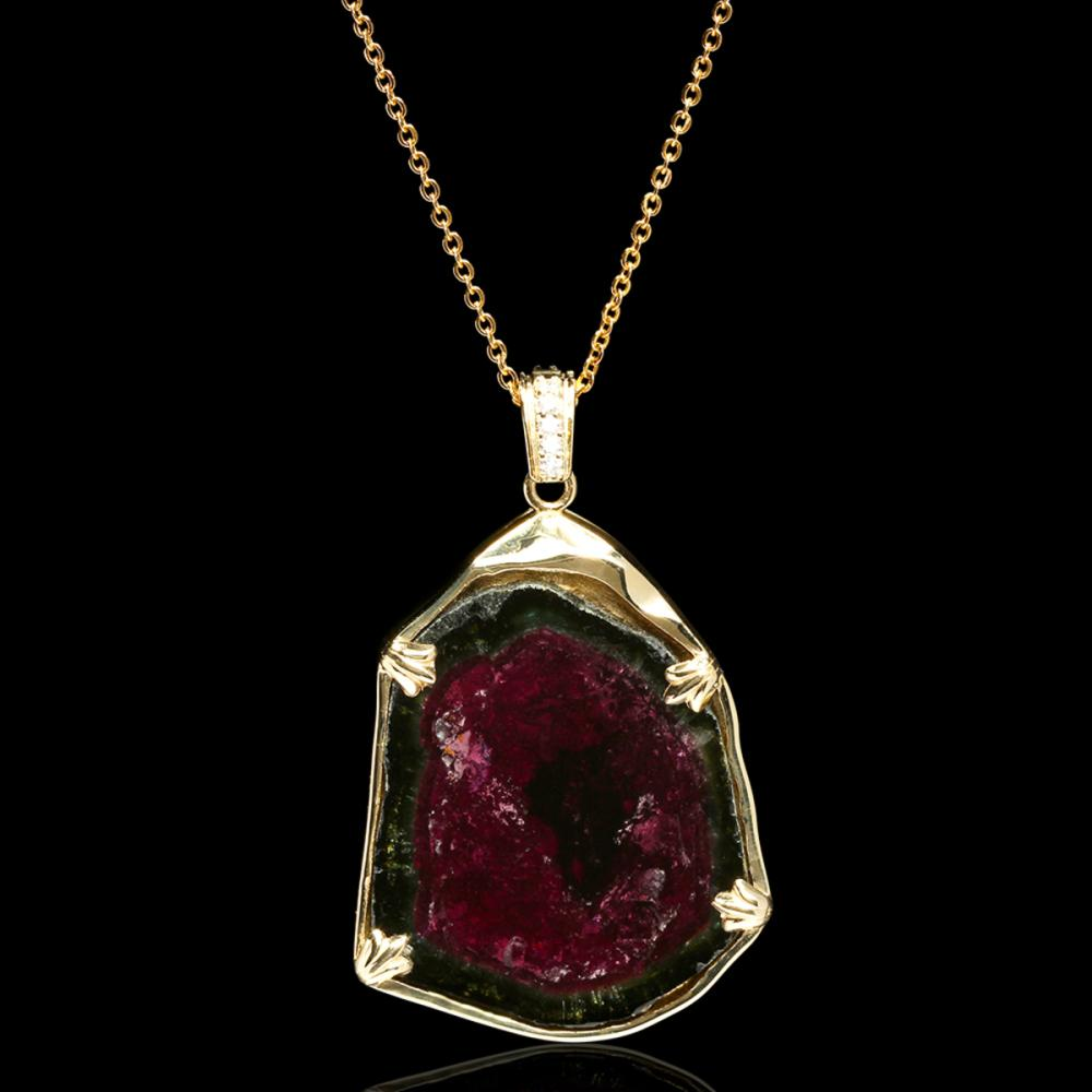 14k Yellow Gold 37.63ct Watermelon Tourmaline 0.16ct Diamond Pendant