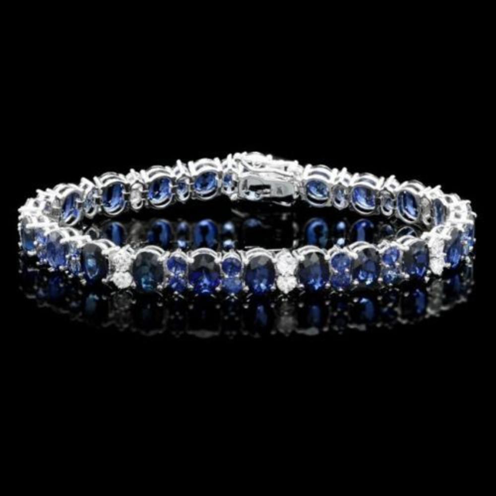 14K Gold 23.14ct Sapphire 1.68ct Diamond Bracelet