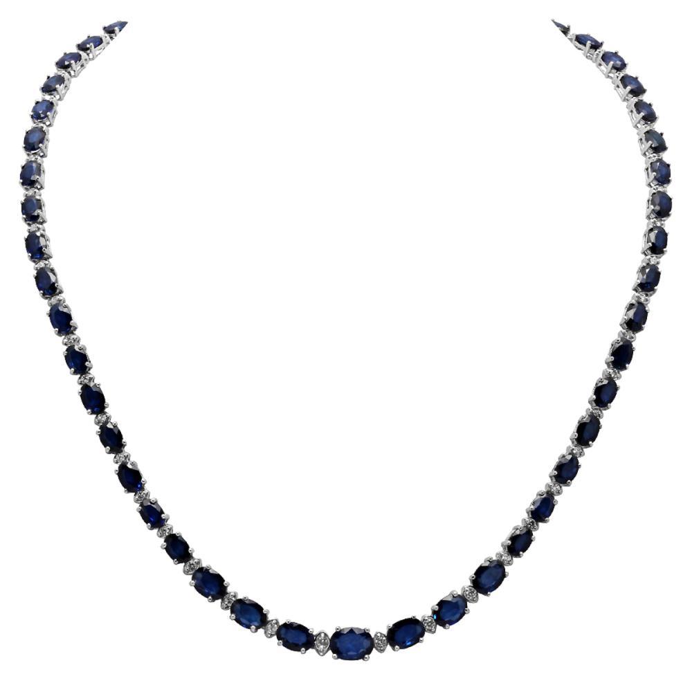 14k White Gold 38.50ct Sapphire 1.60ct Diamond Necklace