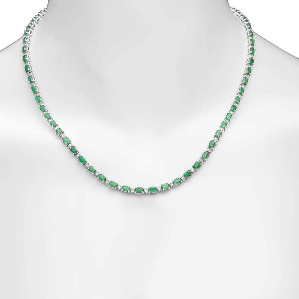 14K Gold 15.46ct Emerald 1.23cts Diamond Necklace