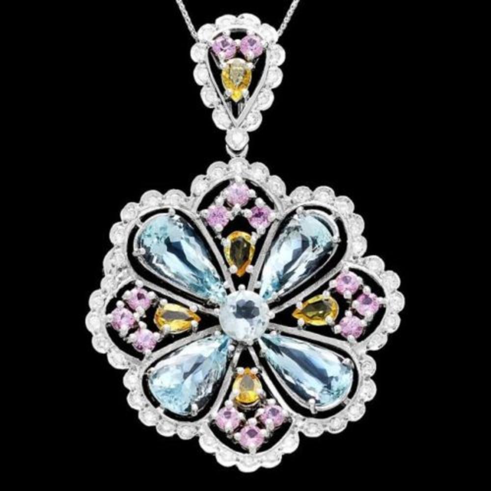 14K Gold 6.97ct Aquamarine 1.53ct Sapphire 2.43ct Beryl and 1.07ct Diamond Pendant