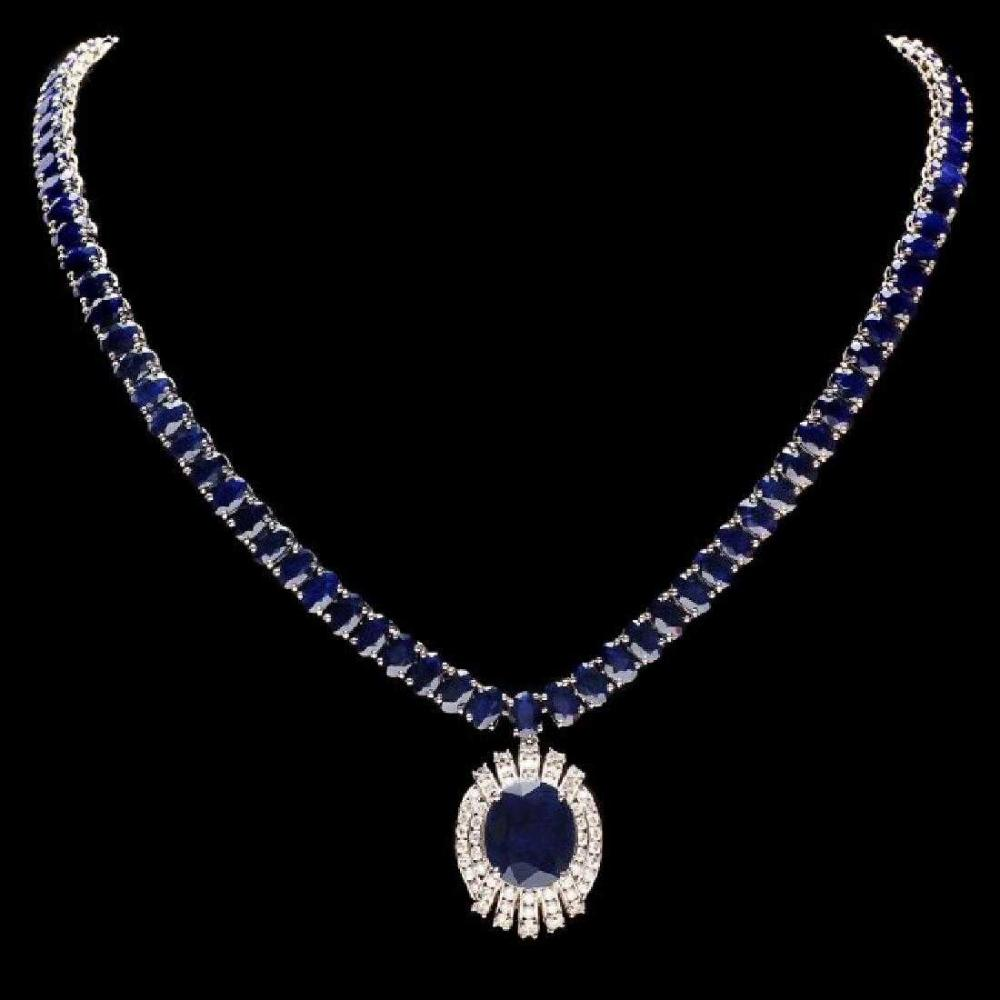 14K White Gold 58.0ct Sapphire and 1.74ct Diamond Necklace