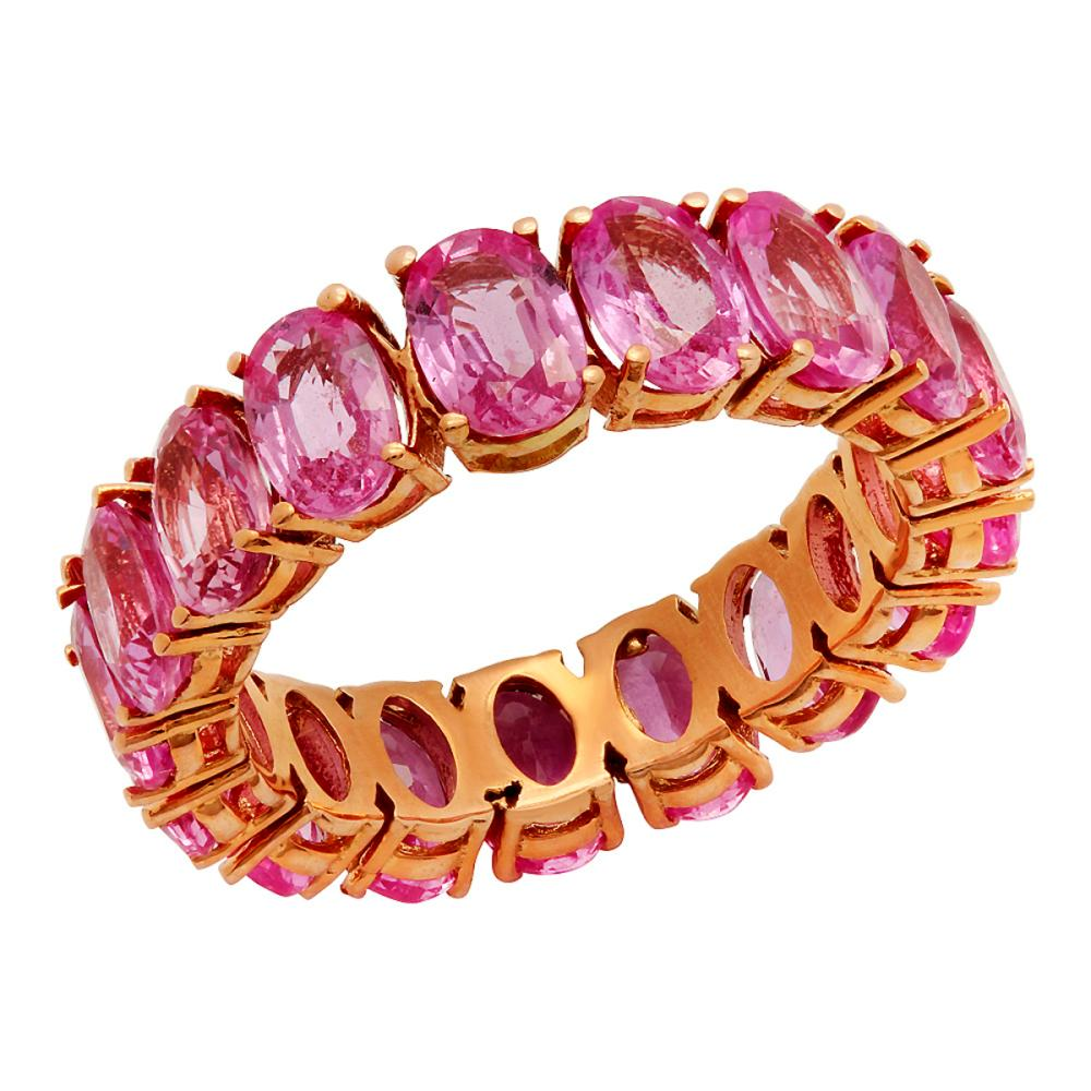 14k Rose Gold 11.12ct Pink Sapphire Eternity Band
