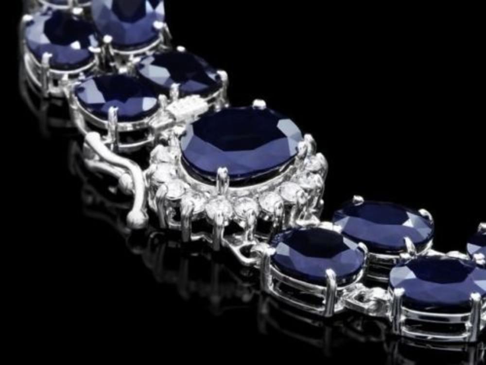 14K Gold 50.15ct Sapphire 0.49ct Diamond Bracelet