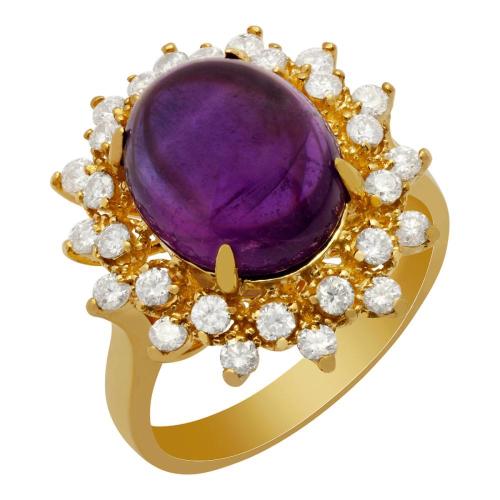 14k Yellow Gold 5.10ct Amethyst 0.72ct Diamond Ring