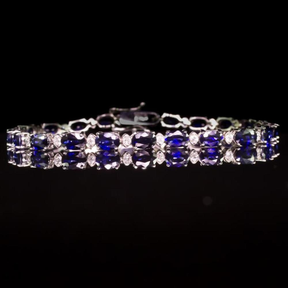14K Gold 9.25ct Sapphire 0.75ct Diamond Bracelet
