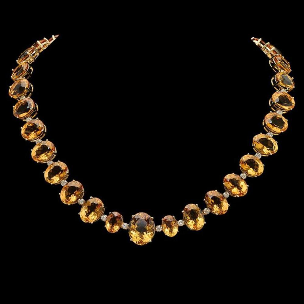 14K Gold 152.71ct Citrine & 4.07ct Diamond Necklace