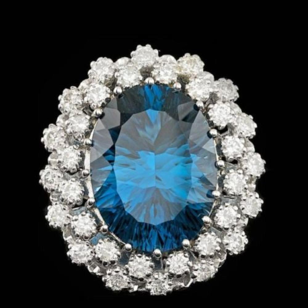 14K White Gold 11.75ct Blue Topaz and 1.51ct Diamond Ring