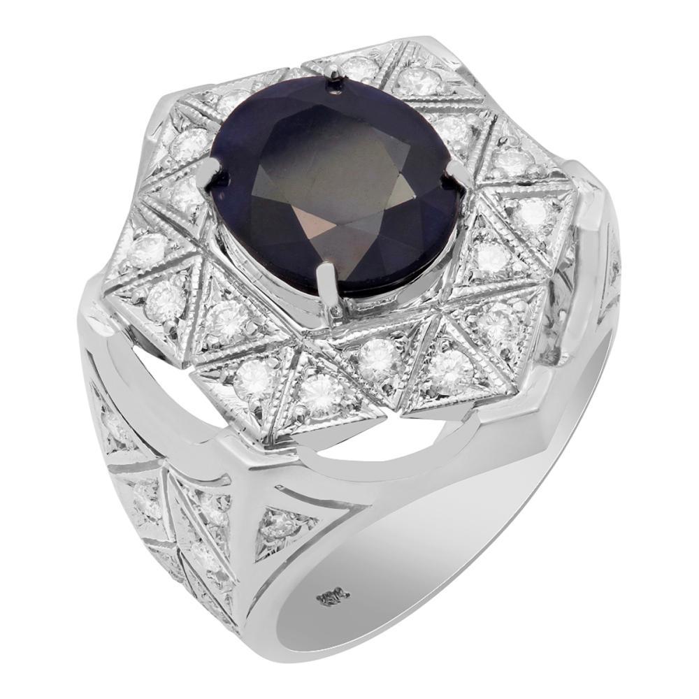 14k White Gold 4.96ct Sapphire 1.09ct Diamond Ring