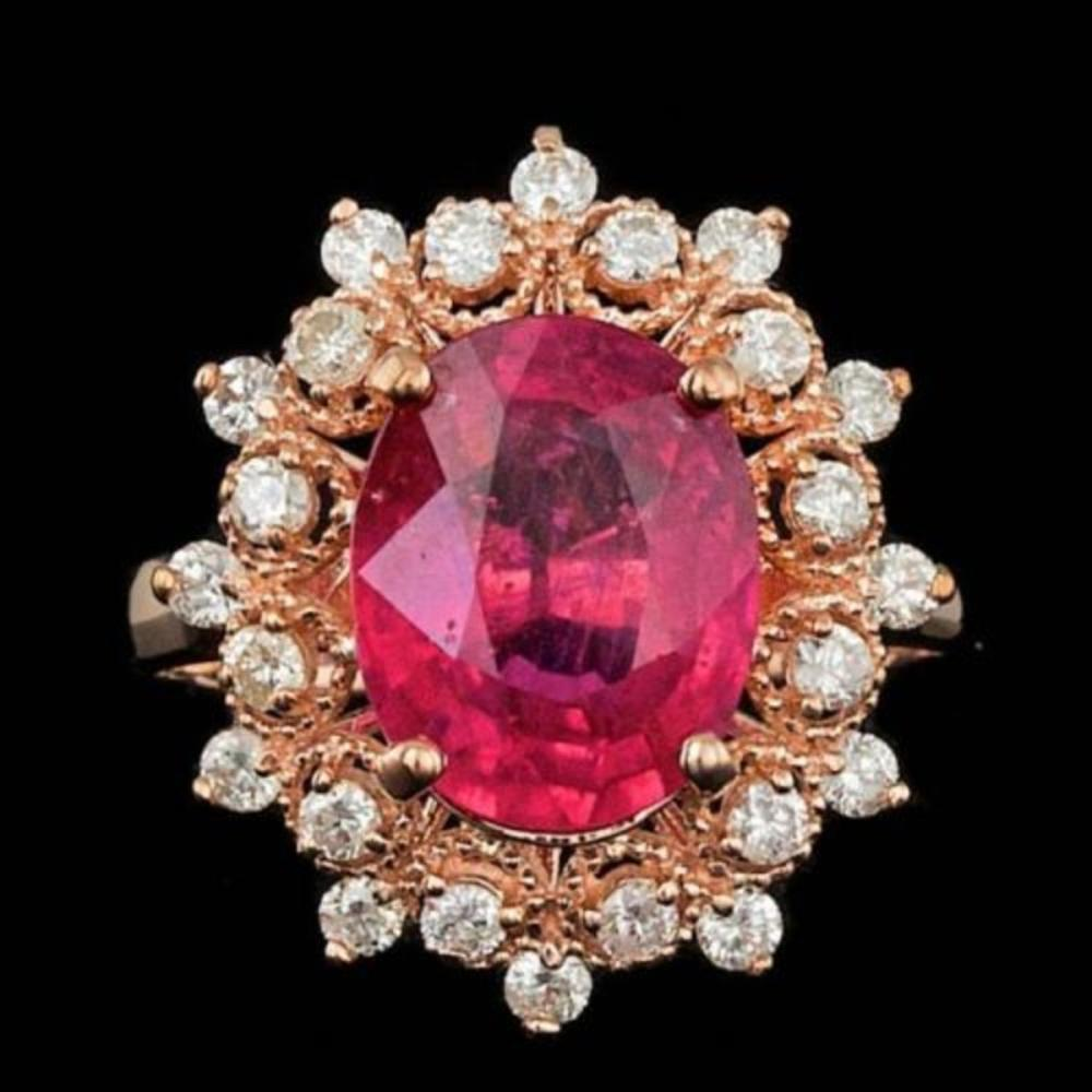 14K Rose Gold 4.23ct Ruby and 0.62ct Diamond Ring