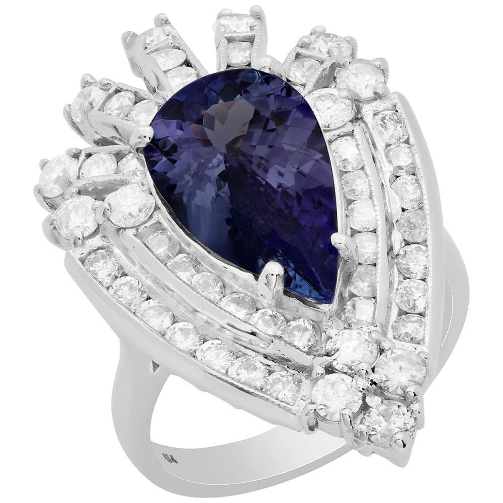 14k White Gold 3.45ct Tanzanite 1.94ct Diamond Ring