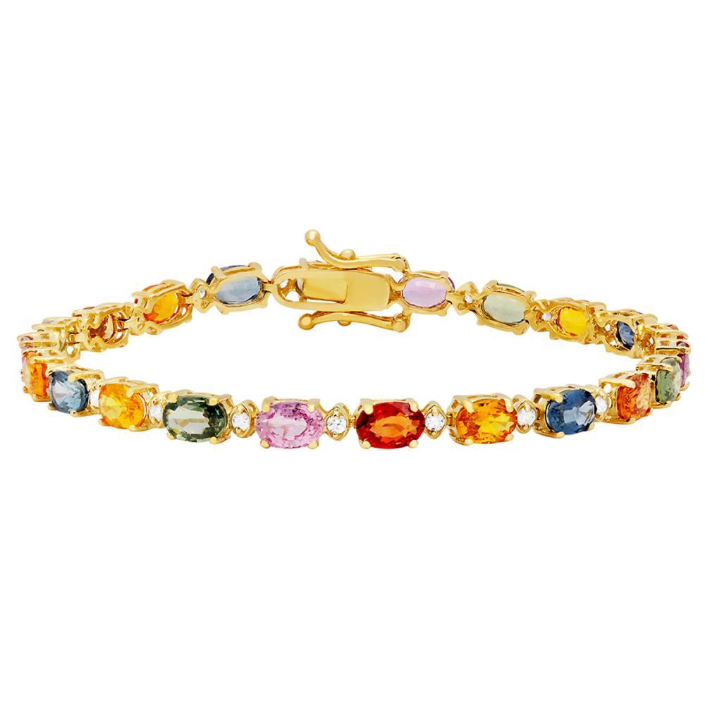 14k Yellow Gold 11.97ct Sapphire 0.57ct Diamond Bracelet